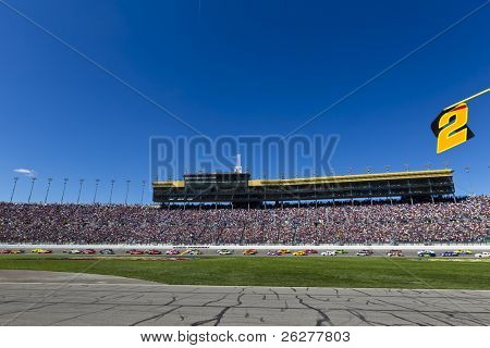 KANSAS CITY, KS - OCT 03:  The NASCAR Sprint Cup Series teams take to the track for the running of the Price Chopper 400 race on October 3, 2010 at the Kansas Speedway in Kansas City, KS.