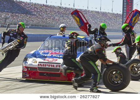 FONTANA, CA - OCT 10:  Mark Martin brings his CarQuest Auto Parts Chevrolet in for service during the Pepsi Max 400 race at the Auto Club Speedway in Fontana, CA on Oct 10, 2010.
