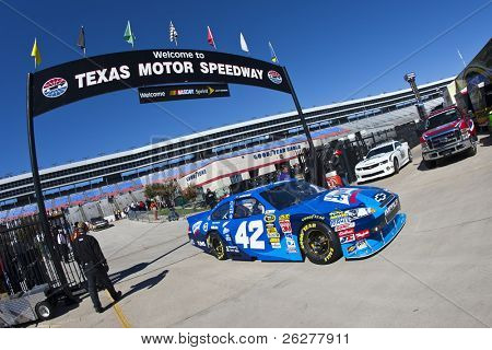 FORT WORTH, TX - NOV 05:  Juan Pablo Montoya race car back in the garage during for a practice session for the AAA Texas 500 race on NOV 5, 2010 at the Texas Motor Speedway in Fort Worth, TX.