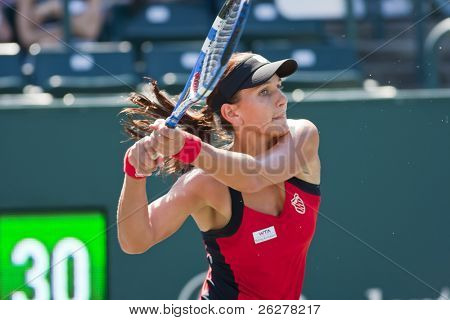 CHARESTON, SC - APR 04: Chanelle Scheepers (RSA) returns a serve on April 4, 2011 during her match with Patty Schnyder (SUI) at the Family Circle Tennis Center in Charleston, SC
