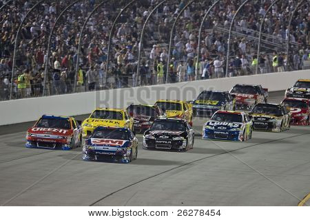 Richmond, VA - SEP 10, 2011: Greg Biffle (16) and Carl Edwards (99) race for the Wonderful Pistachios 400 race at the Richmond International Raceway in Richmond, VA on Sep 10, 2011