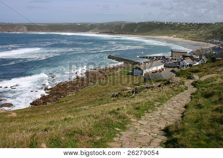View of Sennen Cove, from the path to Lands End, Cornwall