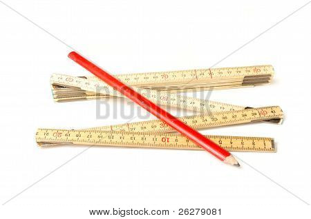 Folding Ruler And Carpenters Pencil