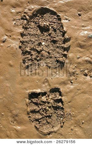 Walker�s Boot print in wet mud