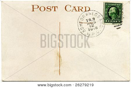 A 1916 US postcard and Franklin 1 cent stamp