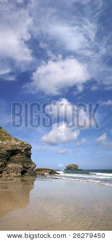 A panoramic view of Gull Rock, Portreath, Cornwall.