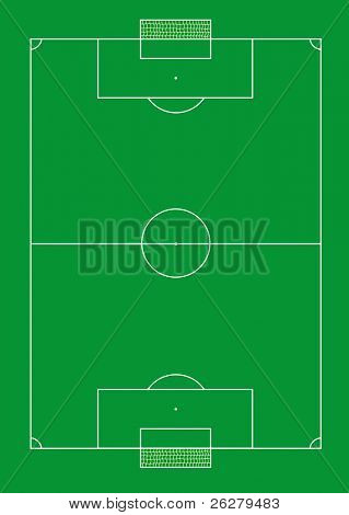 Soccer pitch with nets vector illustration.