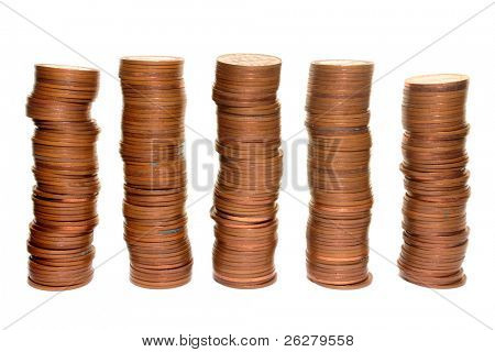 Stacks of 1960�s British half penny coins.