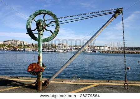 Old boat hoist, Plymouth, UK