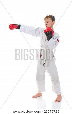 Karate de formación del joven.