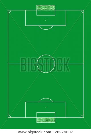 Soccer pitch with nets illustration.