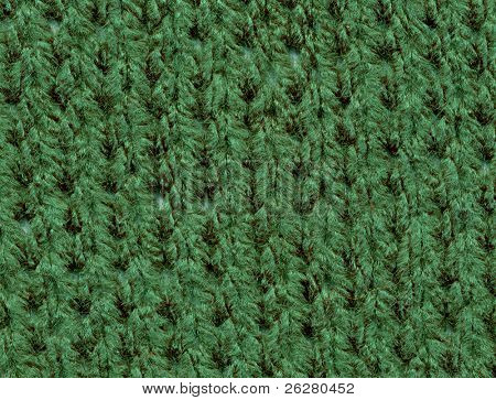 Close up of green knitted wool.