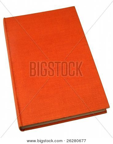 An old hardback book with a textured orange cover.
