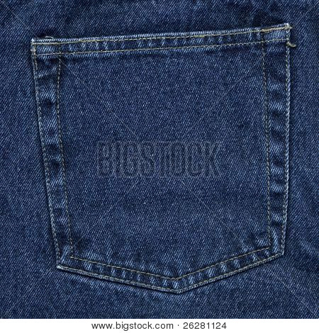 Dark blue new denim jeans pocket.
