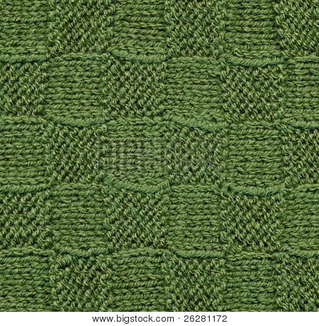 Green knitted wool pattern texture background