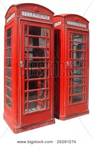 Two classic red British telephone boxes, isolated on a white background.