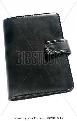 Black organizer address book and diary.