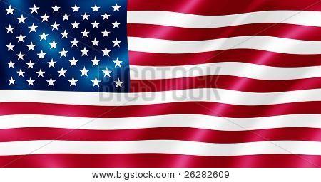 Bandera de Estados Unidos que sopla en la ilustración de viento.