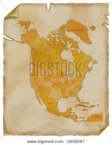 Old Map Of North America. Parchment.