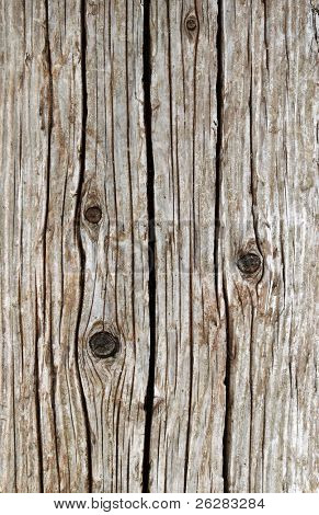 Weathered wooden sea wall girder close up.