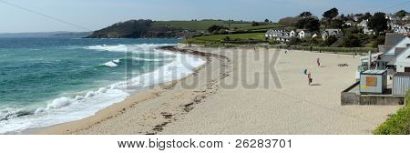 Gyllyngvase beach panorama in Falmouth, Cornwall UK.