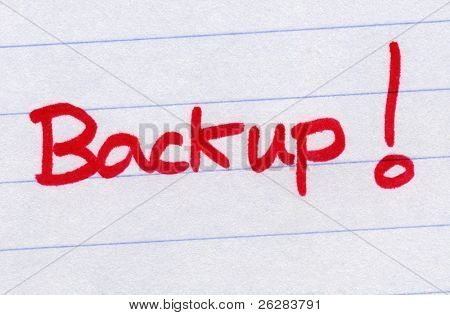 Backup, written in red ink.