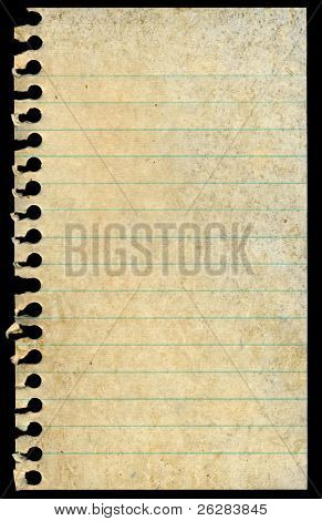 Old dirty stained blank torn notepaper page isolated on a black background.