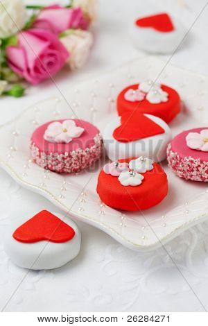 Sweet Valentine Petit Fours on a plate