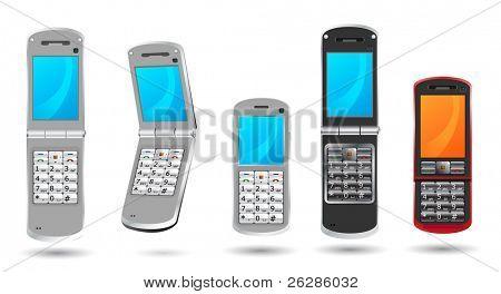 set of modern cell phones