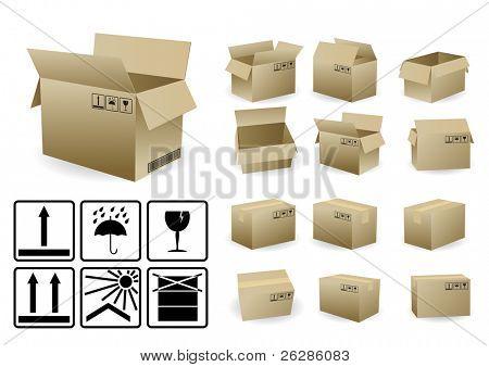 Satz von offenen und geschlossenen Versandkarton mit Bedingung Symbole