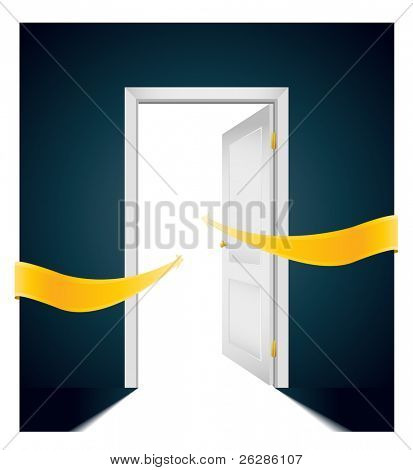 open door with bright arrows pointing direction to the light
