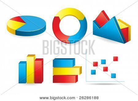 conjunto de diagramas y gráficos brillantes
