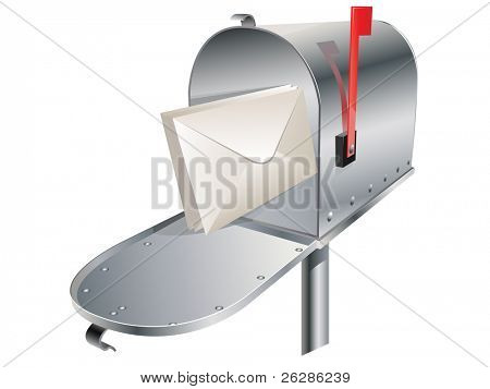 standard vector metal mailbox with envelopes