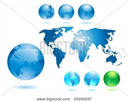 set of shiny globes and detailed worl map