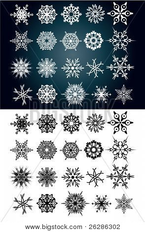 set of beautiful snow flakes and stars