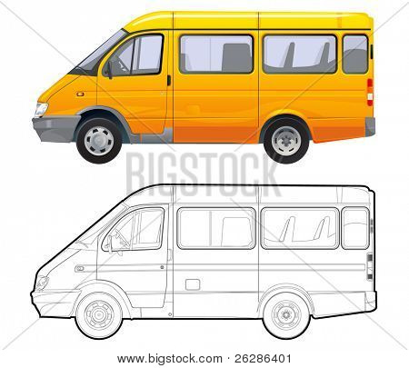 detailed vector passenger minibus isolated on white background with technical drawing