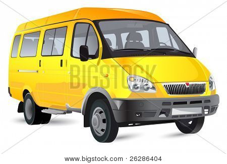 detailed vector passenger minibus isolated on white background