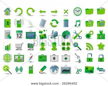 set of 54 green web icon