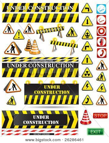 big set of under construction and fire safety signs and symbols