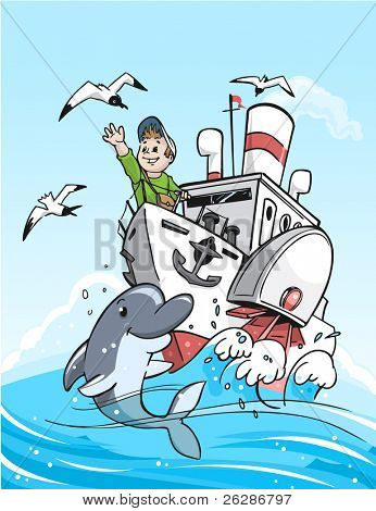 Travel by the boat. Vector detailed illustration