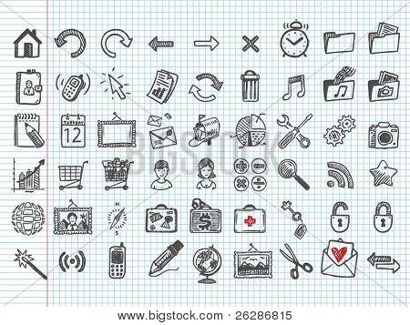 iconos de Doodle. Vector