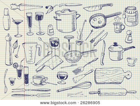 Kitchen Utensils Doodles Vector