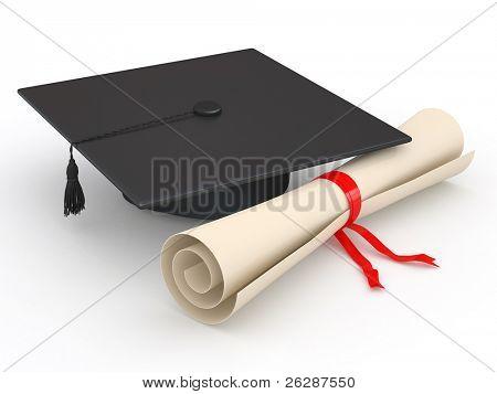 Abschluss. Hut und Diplom auf weißem Hintergrund. 3D