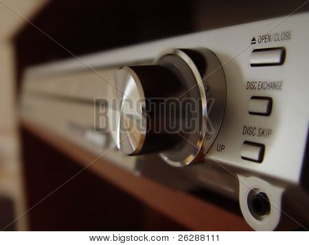 Home stereo system focus on the button
