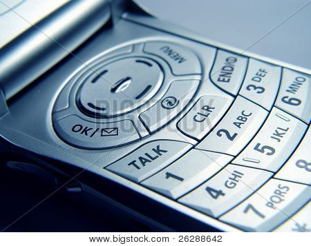 Closeup of Cellular phone Keypad with overall blue tint