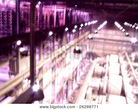 Abstract View inside industrial Iron Ore Mine plant, purple glow to the image