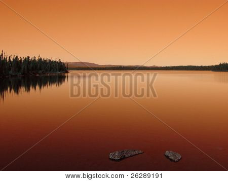 Sunset on a lake in Labrador