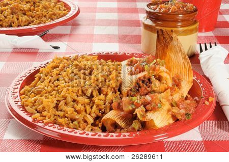 Tamales With Mexican Rice