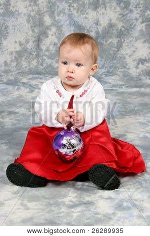 Little Baby Girl in red Christmas dress