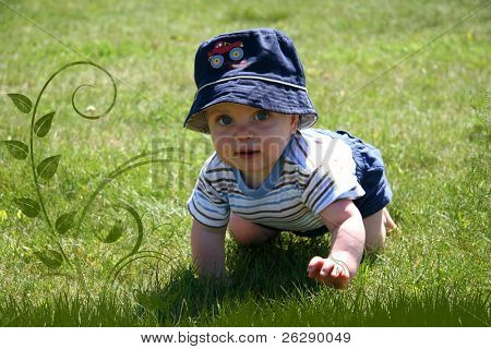Little Boy Crawling in the grass
